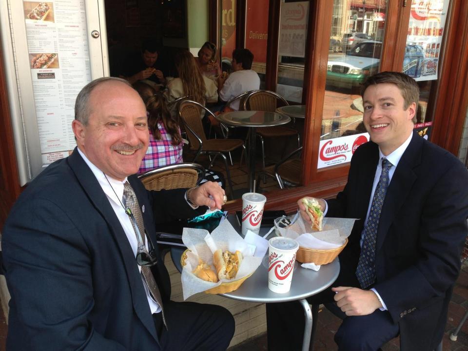 Philadelphia Sandwich Shop - Businessmen Eating Outside